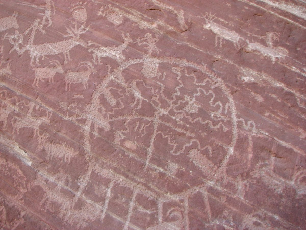 Pictographs on Walnut Knob in Comb Wash near Cedar Mesa
